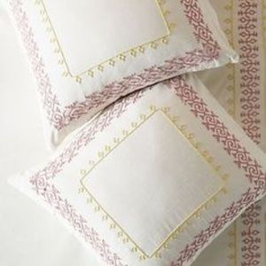 Anthropologie Knollwood  Embroidered Euro  Sham